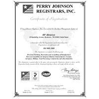 Perry Johnson Certificate for ISO 9001:2008 Conformance